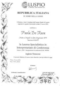 Laurea Magistrale in Interpretazione di Conferenza - Marzo 2012