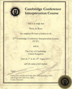Corso di aggiornamento per Interpreti di Conferenza CCIC di Cambridge - Agosto 2011