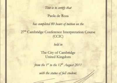 Corso di aggiornamento per Interpreti di Conferenza CCIC di Cambridge