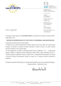 Master di I livello in Interpretariato di Trattativa e Conferenza - 2004-2005