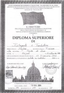 2002 Laurea triennale in Interpretariato e Traduzione