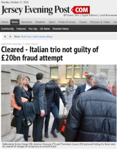 Cleared - Italian trio not guilty of £20bn fraud attempt