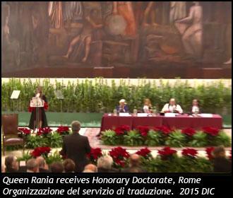 Organizzazione del Servizio di Traduzione per la regina Rania di Giordania