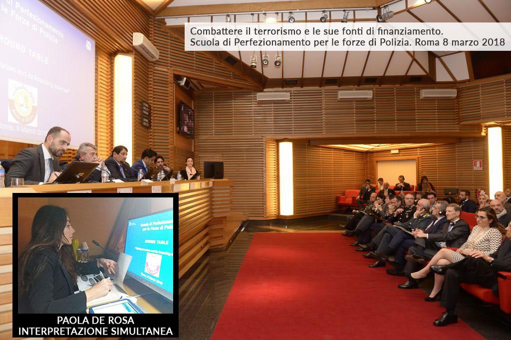 Interpretazione Simultanea Convegno Combattere il terrorismo e le sue fonti di finanziamento