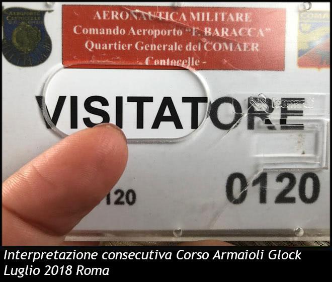 Interpretazione consecutiva Corso Armaioli Glock Luglio 2018 Roma