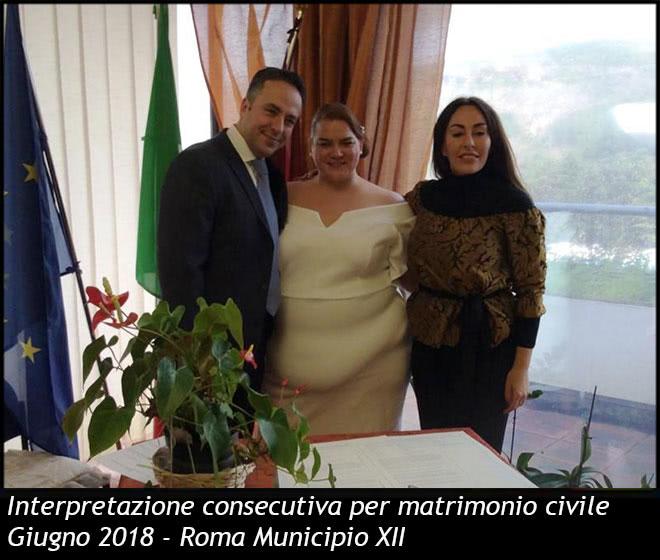 Interpretazione consecutiva per matrimonio civile
