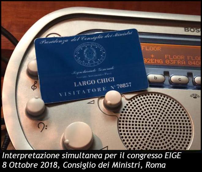 Interpretazione simultanea per il congresso EIGE